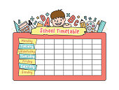 The student boy is climbing on the school pink timetable with stationary pencil, eraser, ruler illustration vector on white background. Education and study concept.