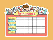 The student boy is climbing on the school pink timetable with stationary pencil, eraser, ruler illustration vector on yellow background. Education and study concept.