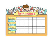 The student boy is climbing on the school yellow timetable with stationary pencil, eraser, ruler illustration vector on white background. Education and study concept.