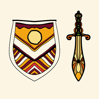 The stylized shield and sword are located side by side, presenting the idea of chivalry and the old European aristocracy.