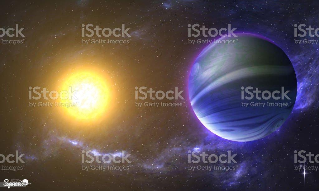 Die Sonne und Erde wie Planeten in Raum zeigen – Vektorgrafik