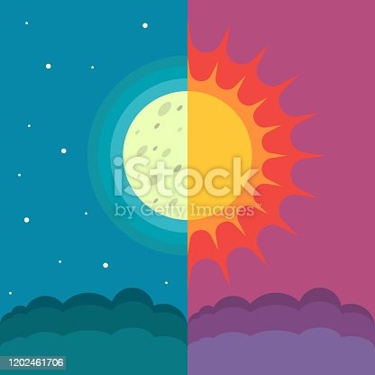 The Sun and The Moon on dual composition as concept of spring and autumn equinox. Annual seasonal natural phenomenon in march and september