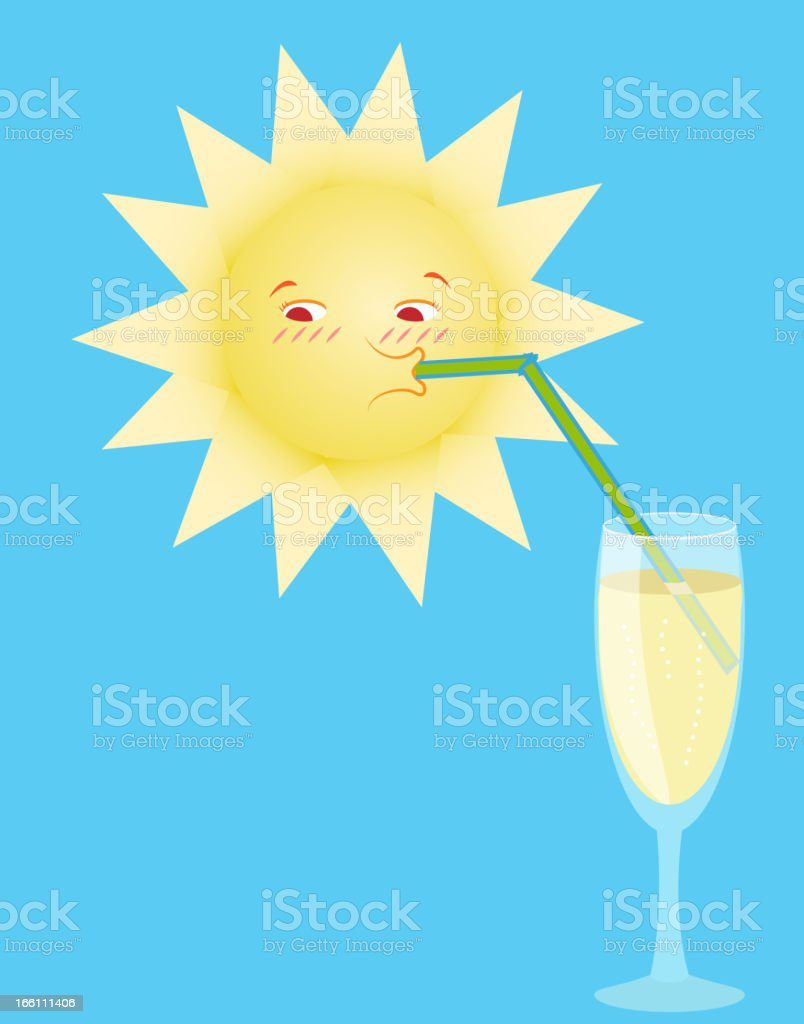 the sun drinks from a tubule royalty-free stock vector art