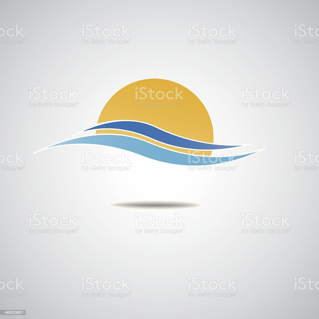 The sun set vector art illustration