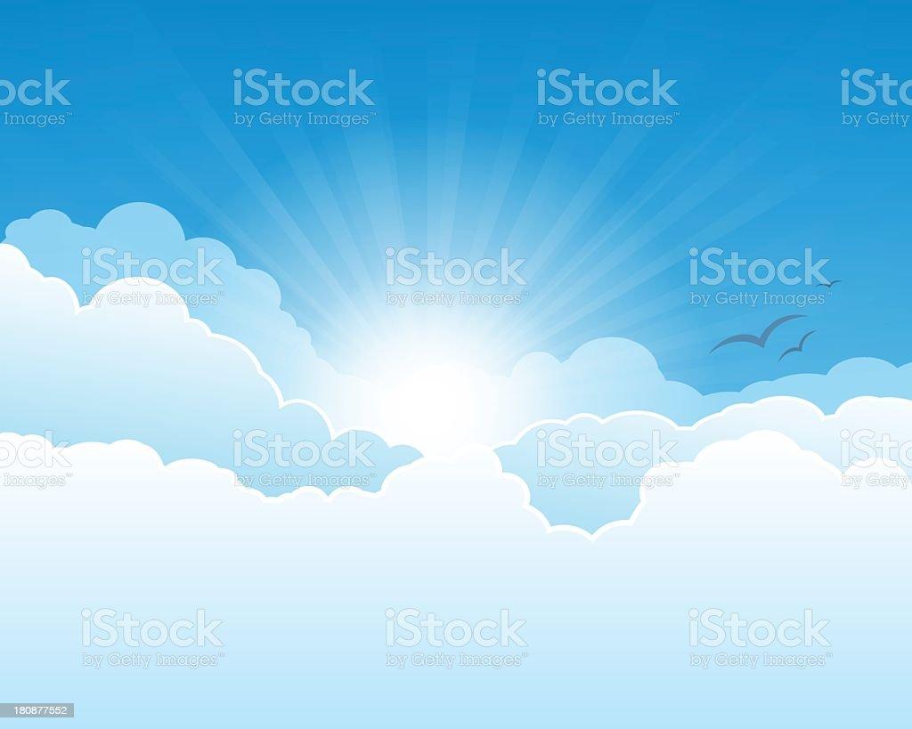 The sun shining through clouds royalty-free stock vector art