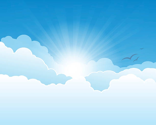 The sun shining through clouds Sky with clouds, and sun with rays. heaven stock illustrations