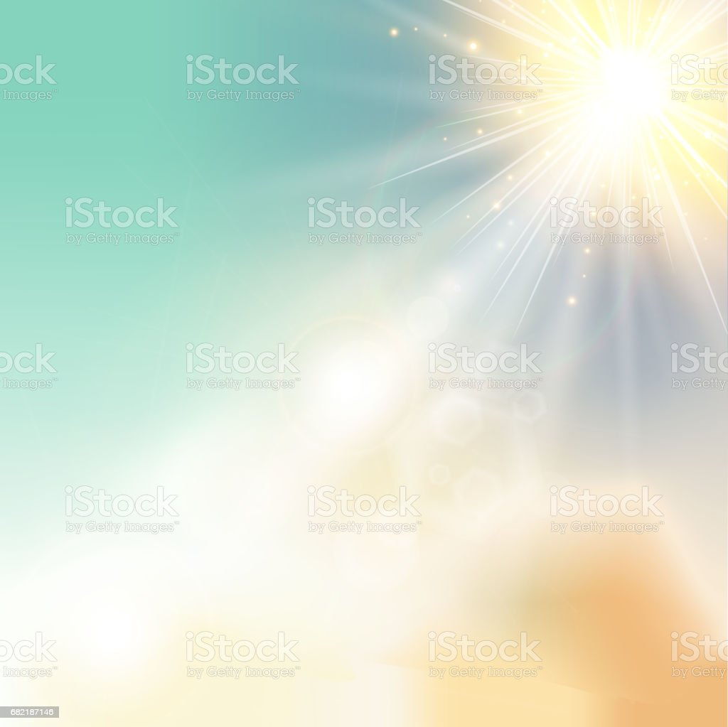 The sun shiny sunlight from the sky nature with lens flares vector vector art illustration