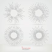 The sun's rays in the style of Hand Drawing.