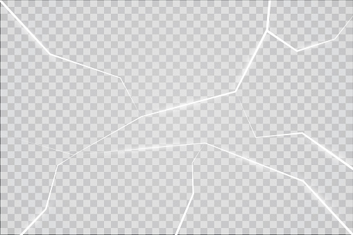 The surface texture is cracked on ice, isolated on a transparent background. Vector illustration. Broken glass
