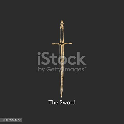 istock The Sword, vector image. Medieval weapon sketch. 1267480977