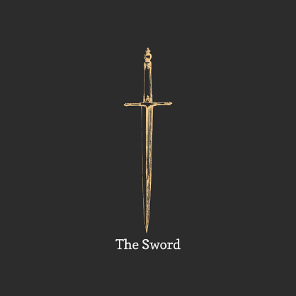 The Sword, vector image. Medieval weapon sketch.