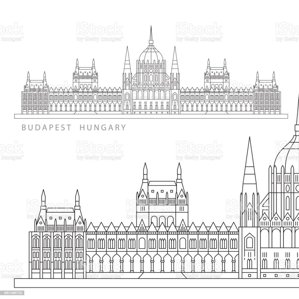 Die Symbole von Budapest, Ungarn – Vektorgrafik