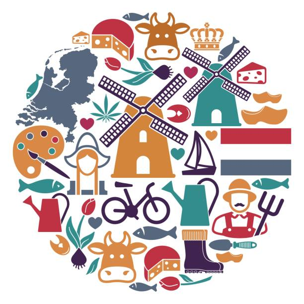 the symbols of the netherlands in the shape of a circle - dutch traditional clothing stock illustrations, clip art, cartoons, & icons