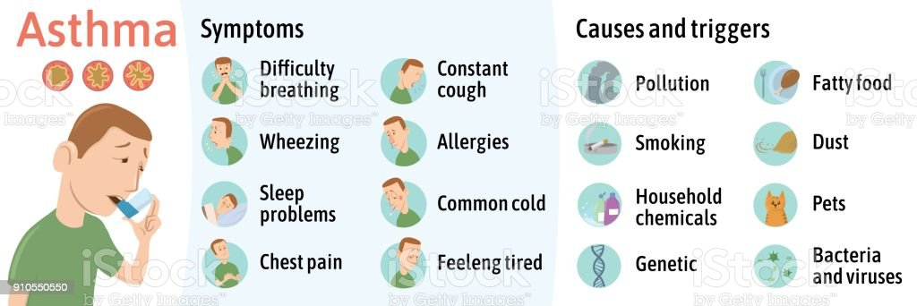 The symptoms and causes of asthma, infographics. Vector illustration for medical journal or brochure. Young man using asthma inhaler, vector illustration. vector art illustration
