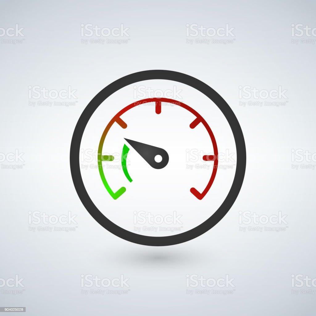 The tachometer, speedometer and indicator icon. Performance measurement symbol. Flat Vector illustration vector art illustration