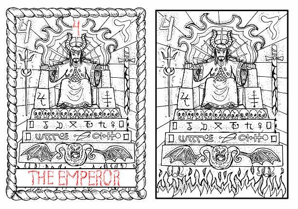 bildbanksillustrationer, clip art samt tecknat material och ikoner med the tarot card. the emperor - tron sci fi
