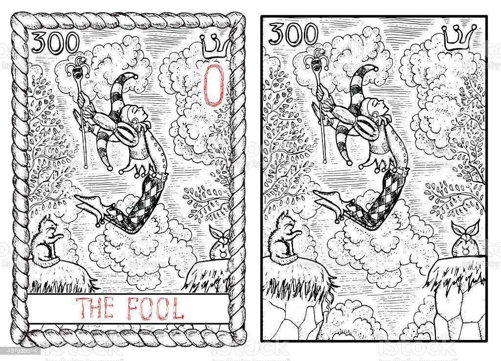 The tarot card. The fool vector art illustration