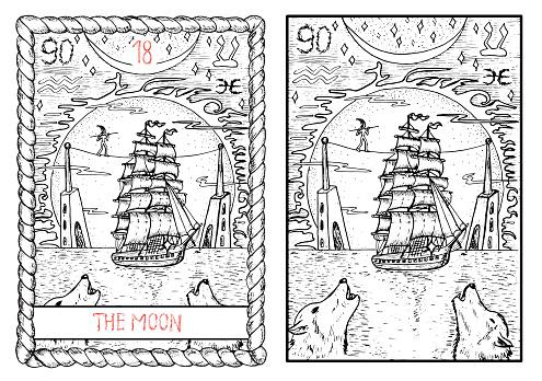 The tarot card. The moon