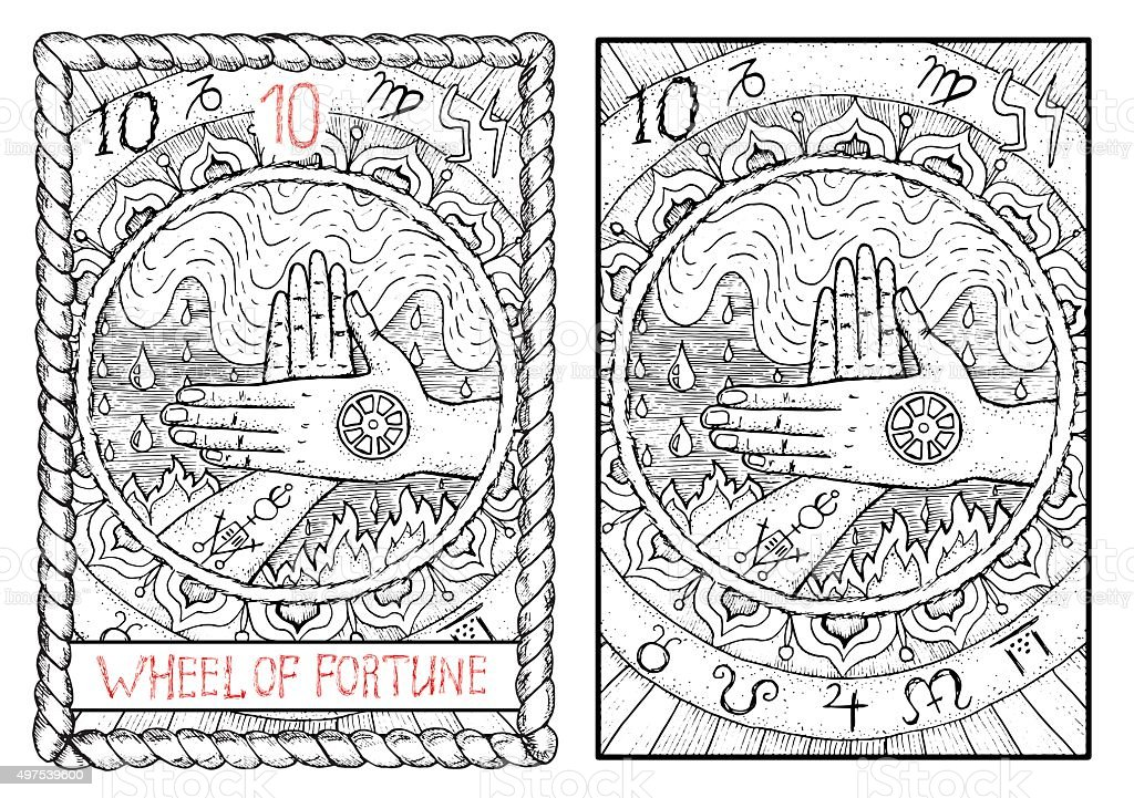 The tarot card. Wheel of fortune Wheel of fortune.  The major arcana tarot card, vintage hand drawn engraved illustration with mystic symbols. Two crossed hands against water and fire background 2015 stock vector