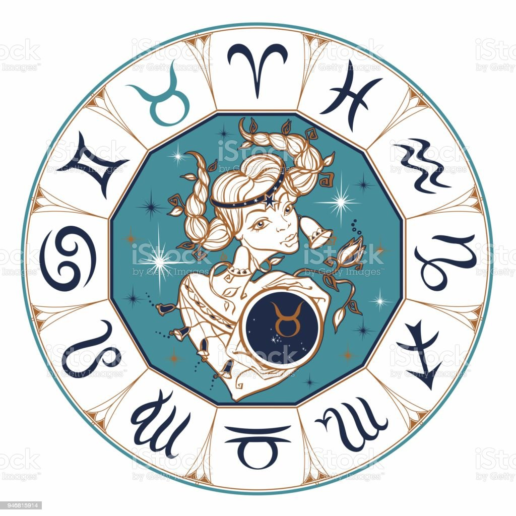 Das Tierkreiszeichen Stier Als Ein Schones Madchen Horoskop Astrologie Victor Stock Vektor Art Und Mehr Bilder Von Astrologie Istock