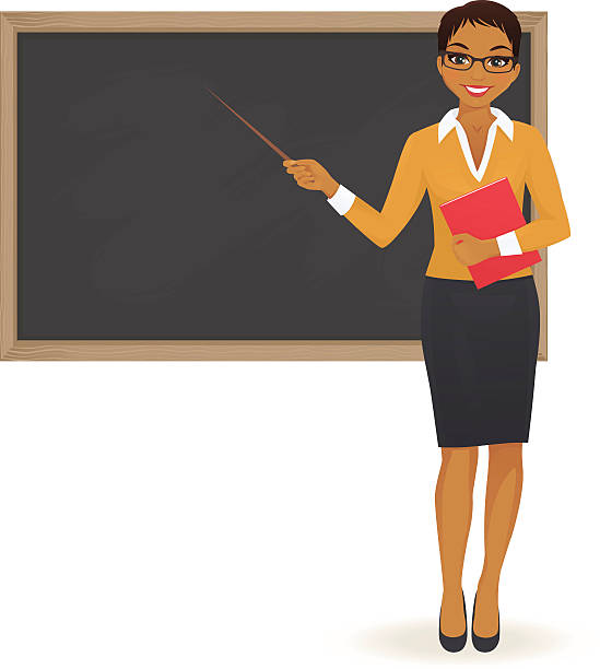 The teacher at blackboard vector art illustration