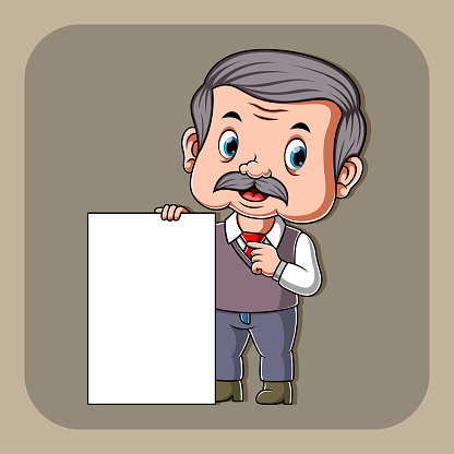 The teacher holding the white blank paper