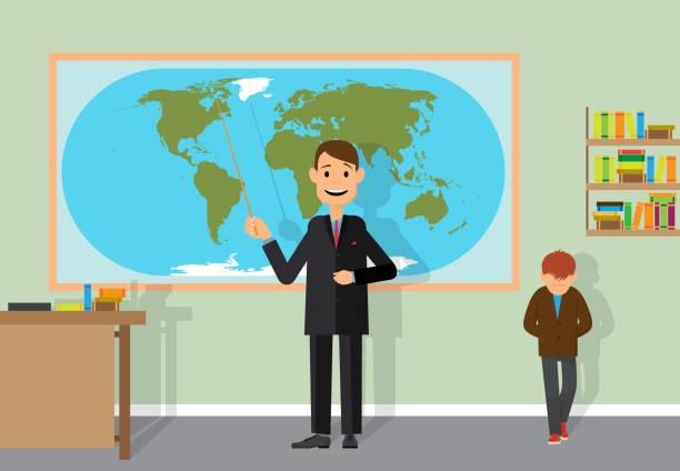 ilustrações de stock, clip art, desenhos animados e ícones de the teacher tells students about planet earth. - teacher school solo