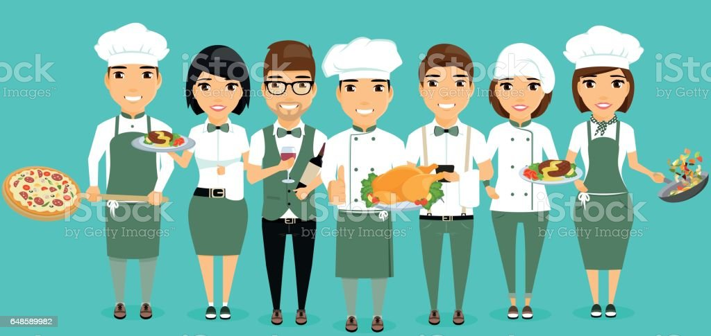 The team of the restaurant workers stand side by side with each other. vector art illustration