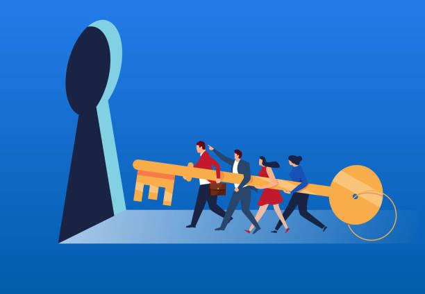 illustrazioni stock, clip art, cartoni animati e icone di tendenza di the team took the key to unlock - opportunità