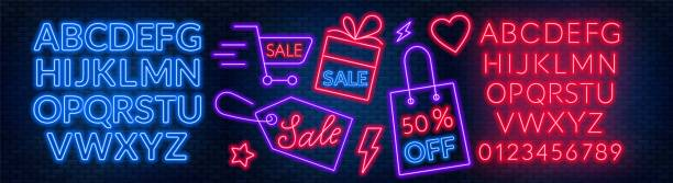 The template for the discount. Neon blue and red alphabets with numbers. The template for the discount. Neon blue and red alphabets with numbers. Vector illustration. EPS 10 black friday stock illustrations