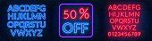 The template for the discount. Neon blue and red alphabets with numbers.