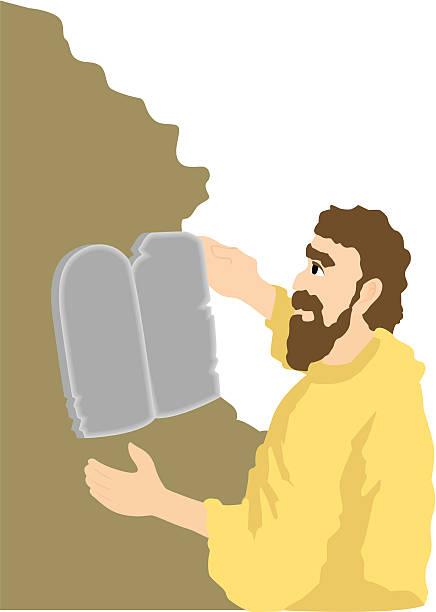 The Ten Commandments Moses and the Ten Commandments Illustration moses religious figure stock illustrations