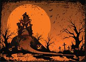 The terrible house halloween background