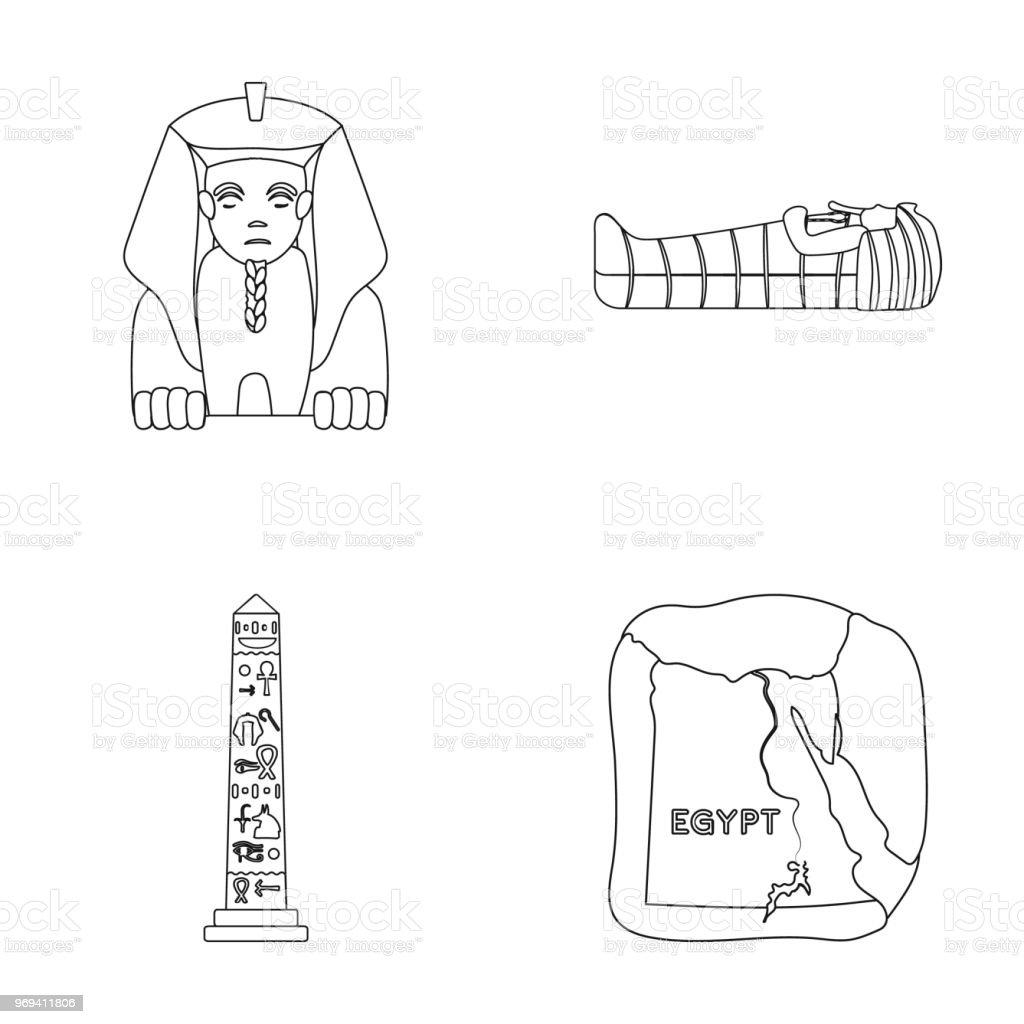 Vetores De O Territorio Do Egito A Esfinge Sarcofago Do Farao O
