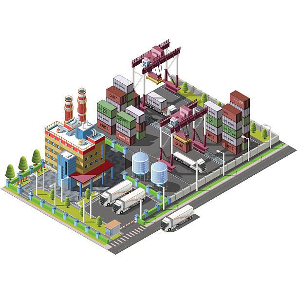 terytorium magazynu, fabryka, budowa żurawi - tap water stock illustrations
