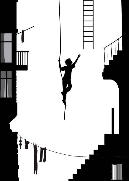 bildbanksillustrationer, clip art samt tecknat material och ikoner med tjuven springer iväg med stege, stuntmän silhuett i staden, svartvita minnen, - parkour