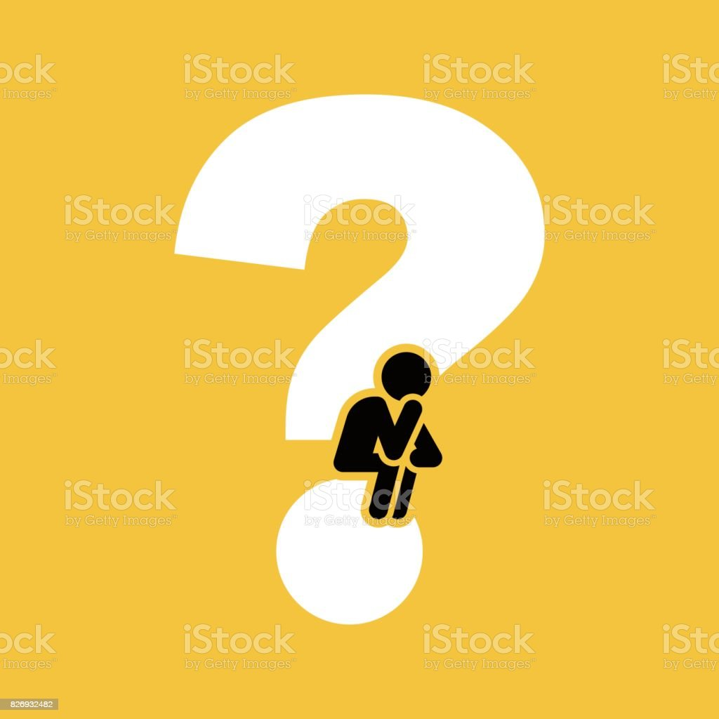 The thinker on question mark vector art illustration