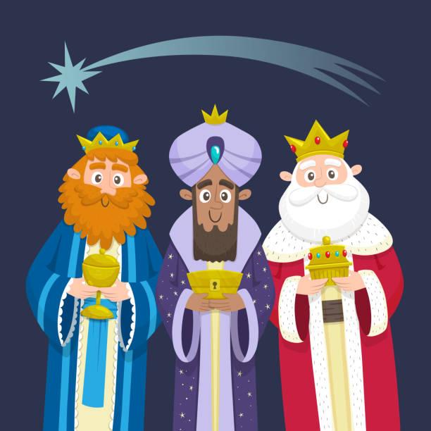 ilustrações de stock, clip art, desenhos animados e ícones de the three kings of orient chrismas card - reis magos