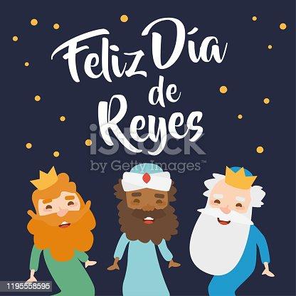 Happy Epiphany written in Spanish. Reyes Magos