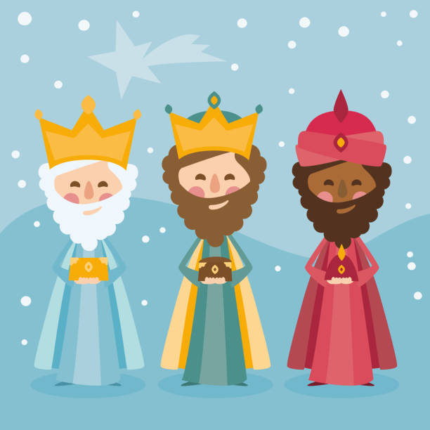 The three kings of orient on a blue background. 3 Magi. Wise men Caspar, Melchior and Balthazar vector 3 Magi Wise men. Los Reyes Magos in Spanish name of person stock illustrations