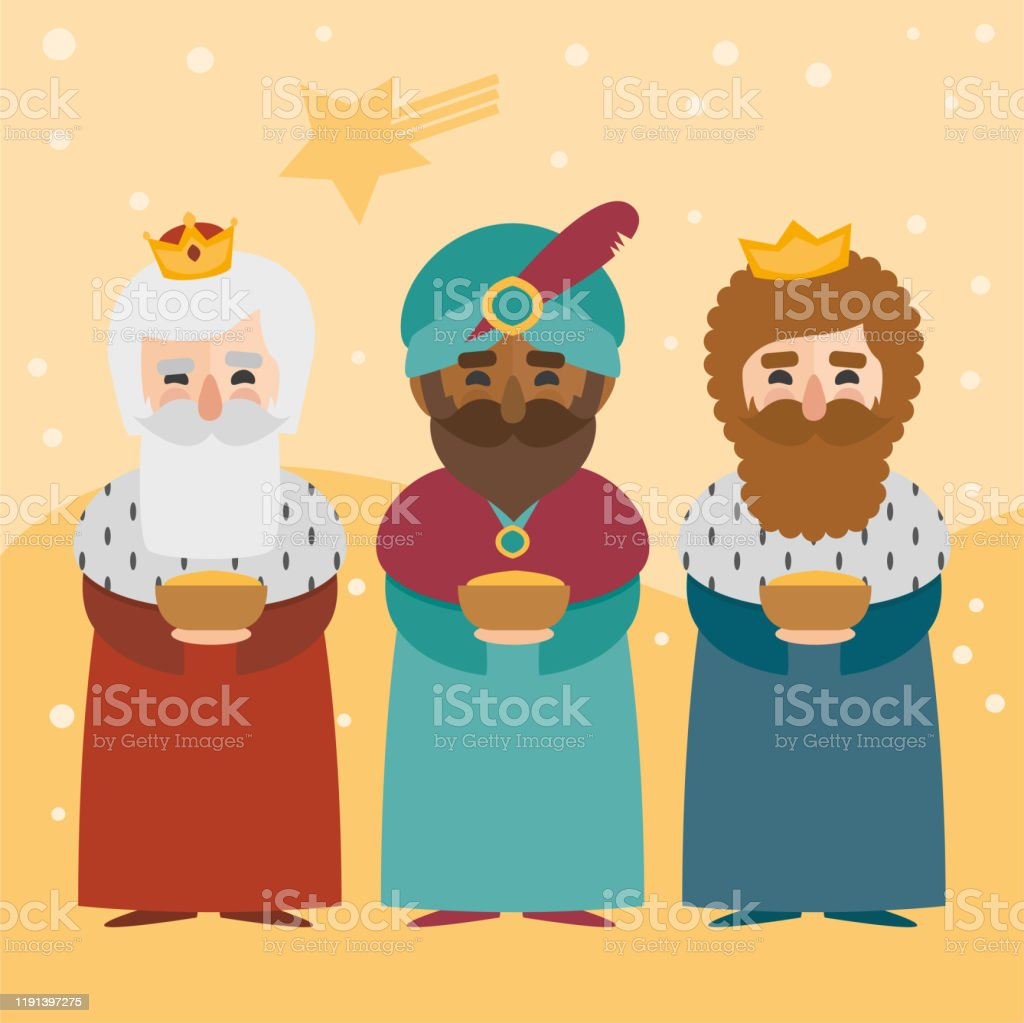 The three kings of orient on a yellow background. 3 Magi. Wise men Caspar, Melchior and Balthazar - Royalty-free Adulto arte vetorial