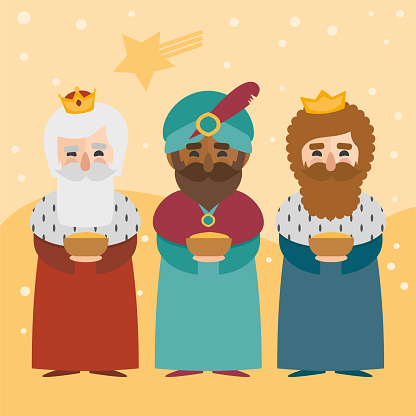 The three kings of orient on a yellow background. 3 Magi. Wise men Caspar, Melchior and Balthazar