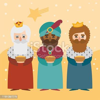 vector 3 Magi Wise men. Los Reyes Magos in Spanish