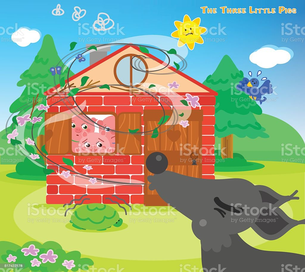 The three little pigs 10: blowing wolf vector art illustration