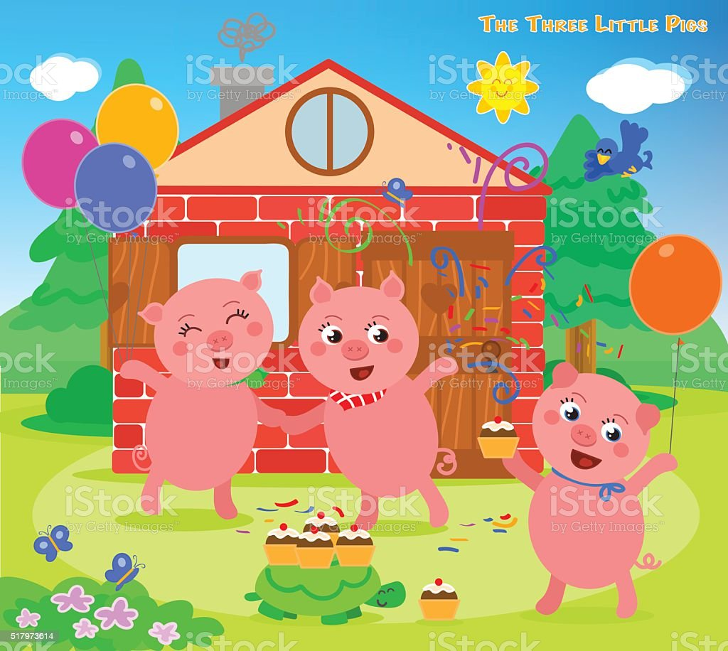 The three little pigs 12: happy ending vector art illustration