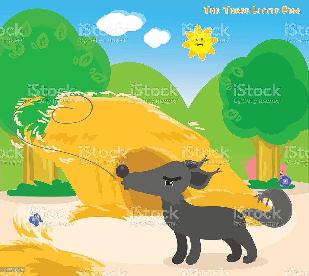 The three little pigs 4: the big bad wolf vector art illustration