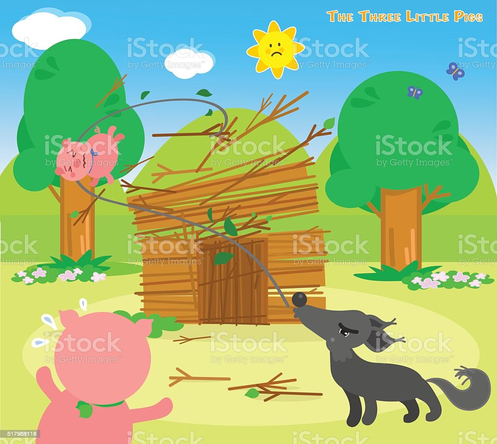 The three little pigs 6: blowing wolf vector art illustration
