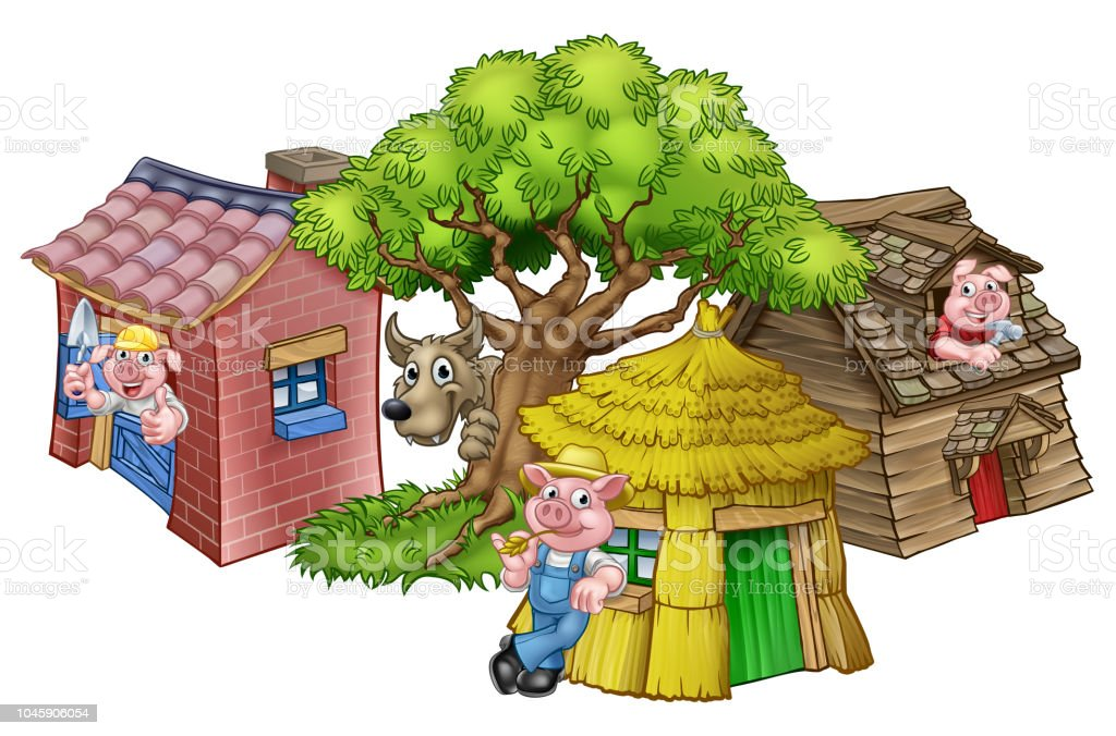 The Three Little Pigs Fairytale vector art illustration