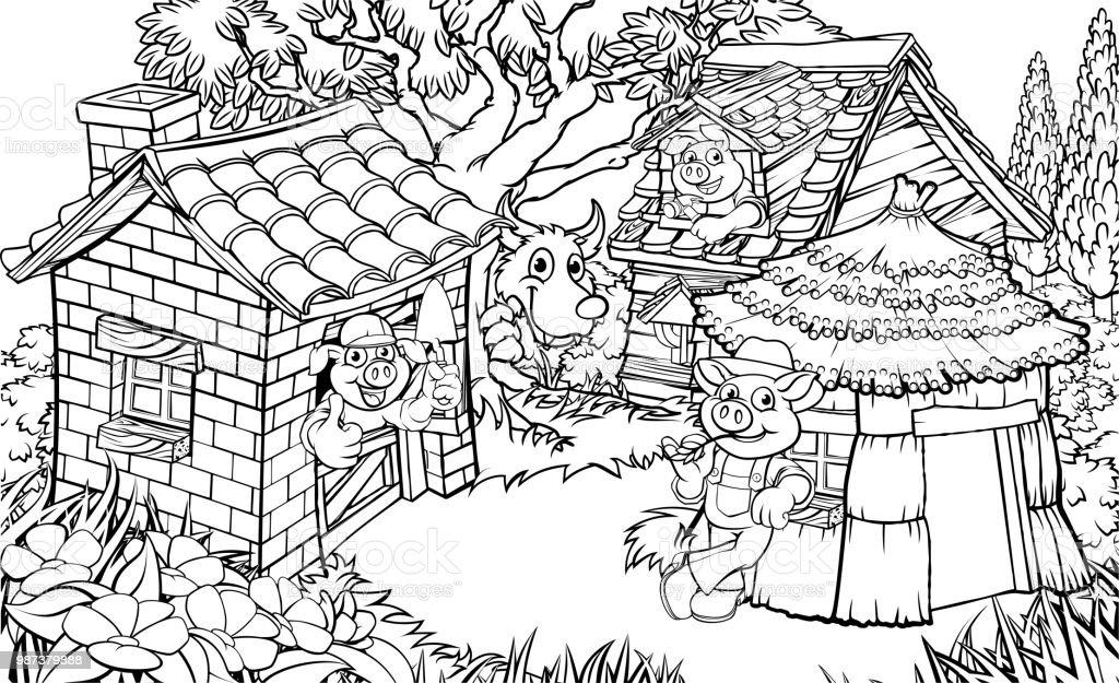 Ilustración De El Cuento De Los Tres Cerditos Y Más Vectores