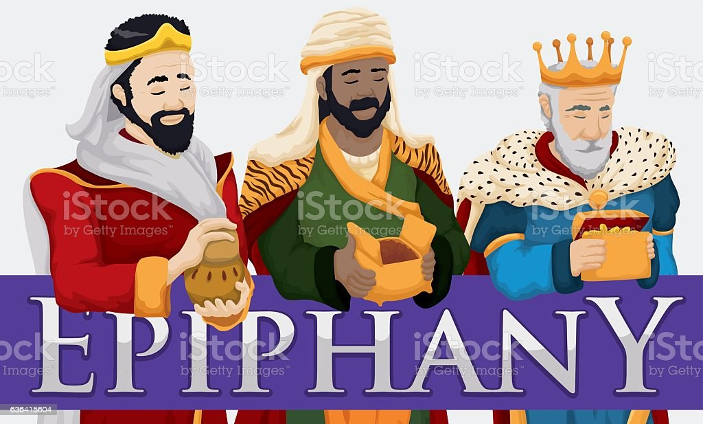 The Three Magi Holding their Gifts to Celebrate the Epiphany vector art illustration